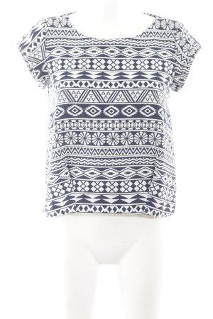 Zara Trafaluc Kurzarm-Bluse blau-weiß Allover-Druck Casual-Look