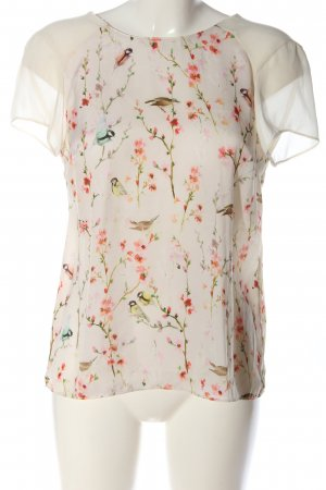 Zara Trafaluc Kurzarm-Bluse weiß-rot Motivdruck Casual-Look