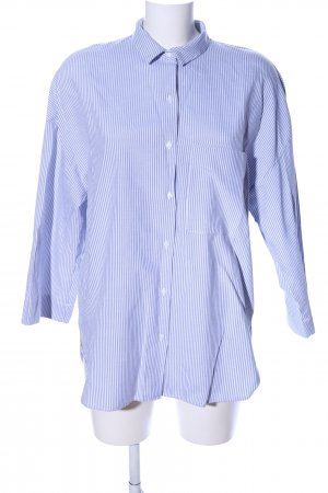 Zara Trafaluc Camisa de manga corta azul-blanco estilo «business»