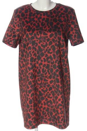 Zara Trafaluc Robe à manches courtes rouge-noir motif animal