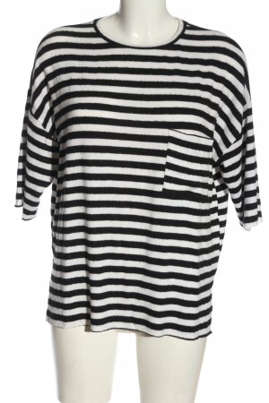 Zara Trafaluc Pull à manches courtes blanc-noir motif rayé style décontracté