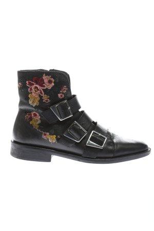 Zara Trafaluc Botte courte noir-rose motif de fleur style décontracté