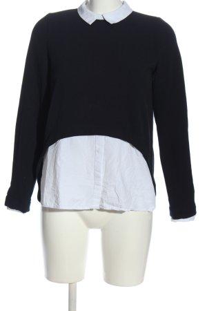 Zara Trafaluc Langarm-Bluse schwarz-weiß Business-Look