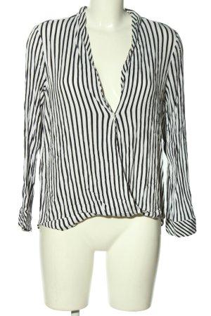 Zara Trafaluc Langarm-Bluse weiß-schwarz Streifenmuster Casual-Look