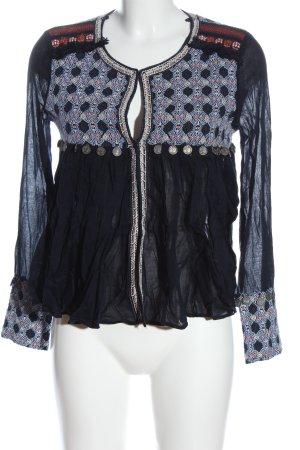 Zara Trafaluc Langarm-Bluse blau abstraktes Muster Casual-Look