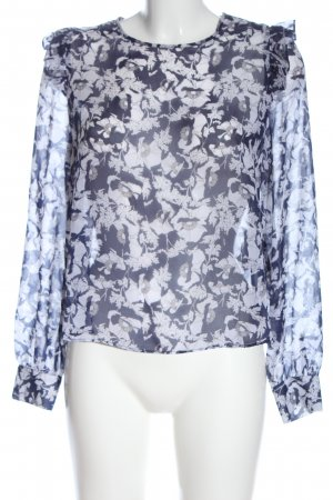 Zara Trafaluc Langarm-Bluse blau-weiß Allover-Druck Casual-Look