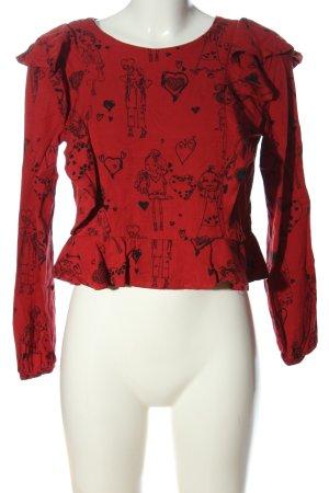 Zara Trafaluc Langarm-Bluse rot-schwarz Motivdruck Business-Look