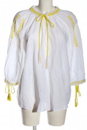 Zara Trafaluc Langarm-Bluse weiß-blassgelb Casual-Look
