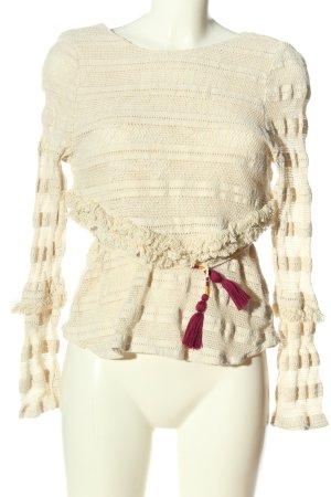Zara Trafaluc Langarm-Bluse wollweiß Casual-Look