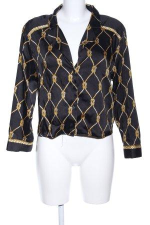 Zara Trafaluc Langarm-Bluse schwarz-blassgelb grafisches Muster Business-Look