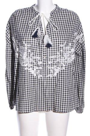 Zara Trafaluc Langarm-Bluse weiß-schwarz Blumenmuster Casual-Look