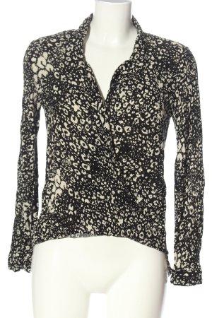 Zara Trafaluc Langarm-Bluse schwarz-creme abstraktes Muster Casual-Look