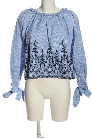 Zara Trafaluc Langarm-Bluse blau-weiß Blumenmuster Business-Look