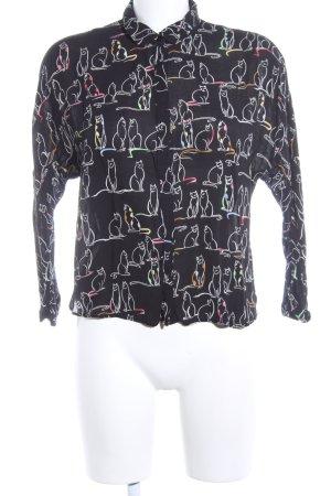 Zara Trafaluc Langarm-Bluse schwarz Allover-Druck Casual-Look