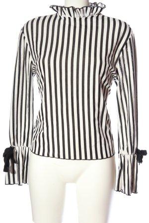 Zara Trafaluc Langarm-Bluse weiß-schwarz Allover-Druck Elegant