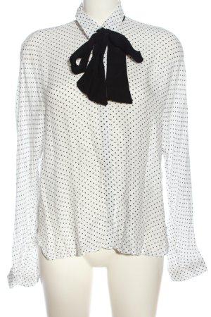 Zara Trafaluc Langarmhemd weiß-schwarz Punktemuster Casual-Look