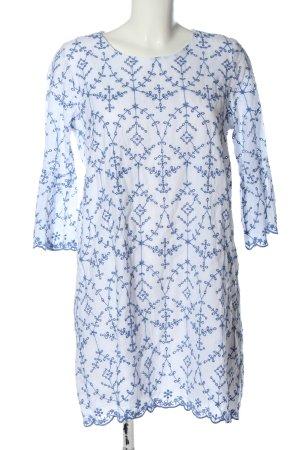 Zara Trafaluc Langarmkleid weiß-blau Allover-Druck Casual-Look