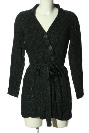 Zara Trafaluc Langarmkleid grün Allover-Druck extravaganter Stil