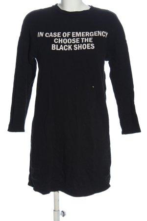 Zara Trafaluc Langarmkleid schwarz-weiß Schriftzug gedruckt Casual-Look
