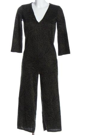 Zara Trafaluc Langer Jumpsuit khaki-czarny Abstrakcyjny wzór W stylu casual