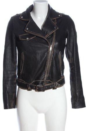 Zara Trafaluc Chaqueta de cuero negro-marrón elegante