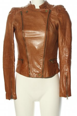 Zara Trafaluc Lederjacke bronzefarben Casual-Look