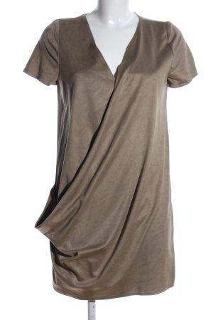 Zara Trafaluc Leren jurk bruin casual uitstraling
