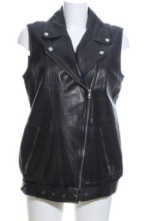 Zara Trafaluc Chaleco de cuero negro look casual