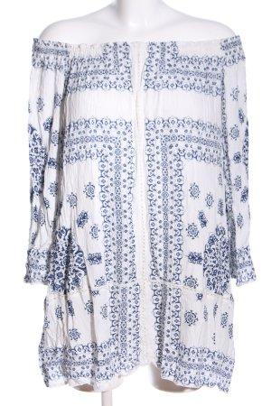 Zara Trafaluc Long-Bluse weiß-blau Allover-Druck Casual-Look