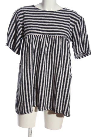 Zara Trafaluc Longshirt schwarz-weiß Streifenmuster Casual-Look