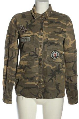 Zara Trafaluc Militair jack khaki-bruin camouflageprint casual uitstraling