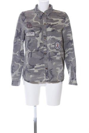Zara Trafaluc Veste militaire gris clair imprimé allover style décontracté