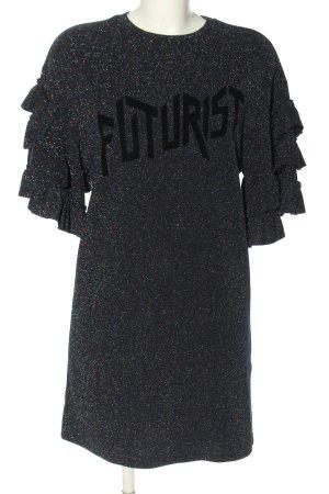 Zara Trafaluc Minikleid blau-schwarz Schriftzug gedruckt Elegant