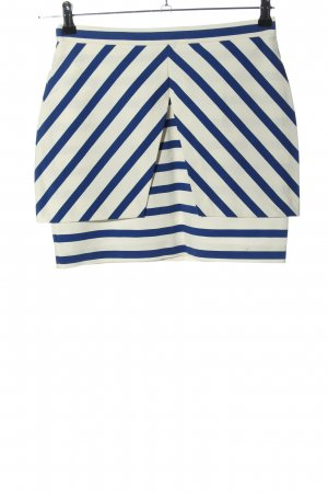 Zara Trafaluc Minirock weiß-blau Streifenmuster Casual-Look