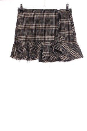 Zara Trafaluc Mini rok zwart-room geruite print casual uitstraling