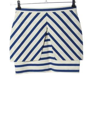 Zara Trafaluc Mini rok wit-blauw gestreept patroon casual uitstraling