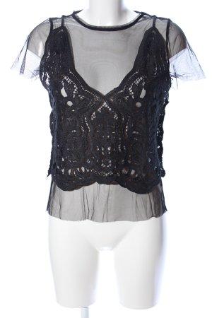 Zara Trafaluc Camisa de malla negro estampado repetido sobre toda la superficie