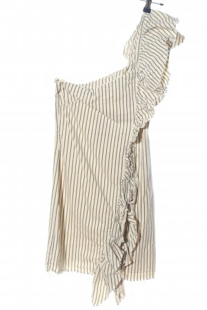 Zara Trafaluc One Shoulder Dress cream-blue striped pattern casual look