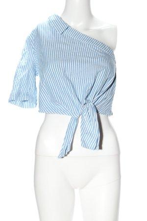 Zara Trafaluc One Shoulder Top blue-white striped pattern casual look