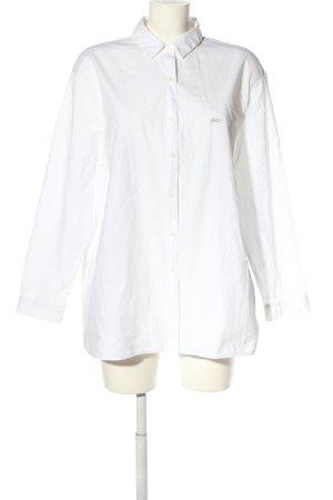 Zara Trafaluc Oversized Bluse weiß Schriftzug gestickt Business-Look