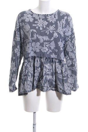 Zara Trafaluc Oversized Bluse schwarz-weiß Blumenmuster Casual-Look