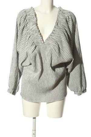Zara Trafaluc Oversized Bluse weiß-schwarz Allover-Druck Casual-Look