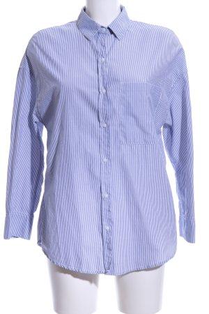 Zara Trafaluc Oversized Bluse weiß-stahlblau Streifenmuster Casual-Look