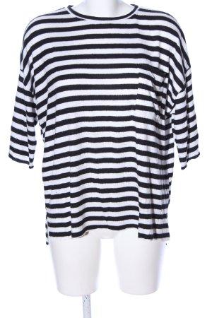 Zara Trafaluc Oversized Sweater white-black striped pattern casual look
