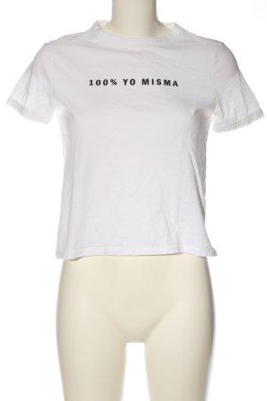 Zara Trafaluc Print-Shirt weiß Schriftzug gedruckt Casual-Look