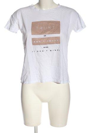 Zara Trafaluc Print-Shirt weiß-braun Schriftzug gedruckt Casual-Look