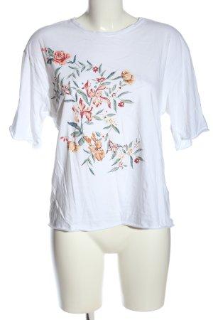 Zara Trafaluc Print-Shirt weiß Blumenmuster Casual-Look