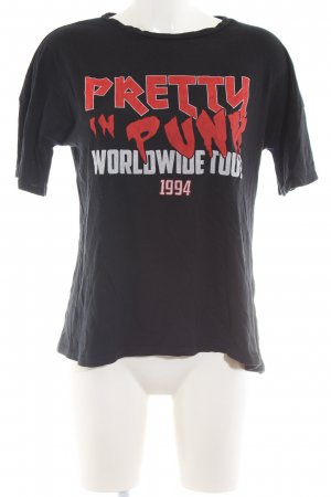 Zara Trafaluc Camiseta estampada negro letras impresas look casual