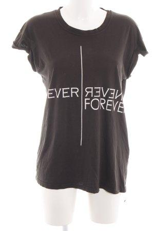 Zara Trafaluc Print-Shirt braun Schriftzug gedruckt Casual-Look