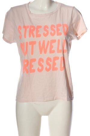 Zara Trafaluc Print-Shirt creme-hellorange Schriftzug gedruckt Casual-Look